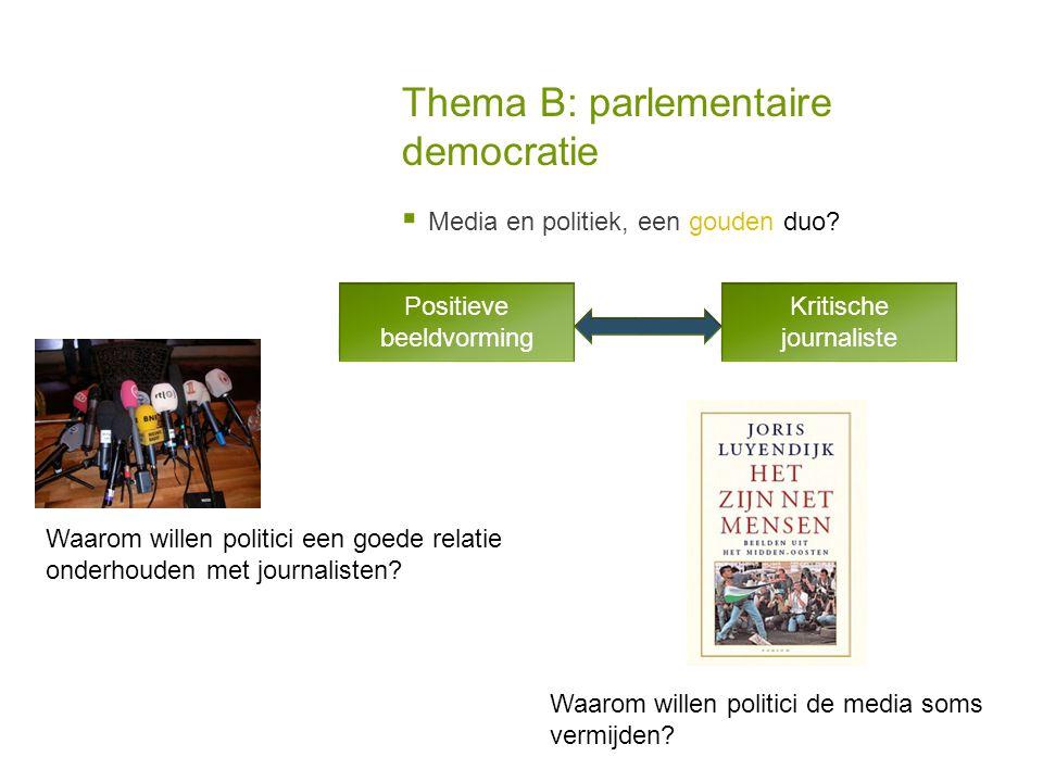 Thema B: parlementaire democratie  Media en politiek, een gouden duo.