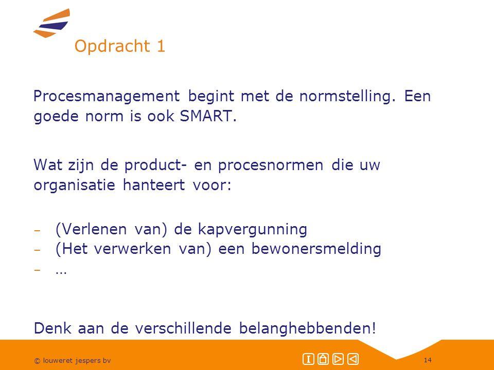 © louweret jespers bv 14 Opdracht 1 Procesmanagement begint met de normstelling.