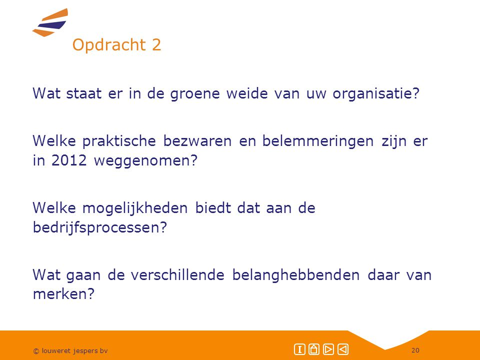 © louweret jespers bv 20 Opdracht 2 Wat staat er in de groene weide van uw organisatie.