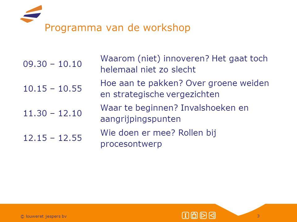 © louweret jespers bv 3 Programma van de workshop 09.30 – 10.10 Waarom (niet) innoveren.