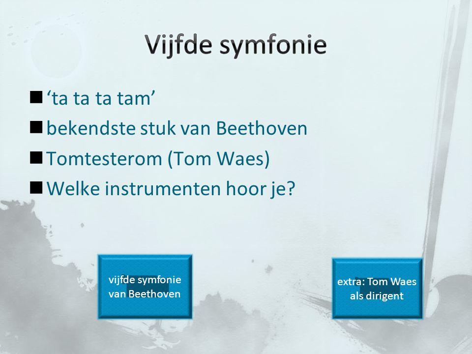 'ta ta ta tam' bekendste stuk van Beethoven Tomtesterom (Tom Waes) Welke instrumenten hoor je? extra: Tom Waes als dirigent vijfde symfonie van Beetho