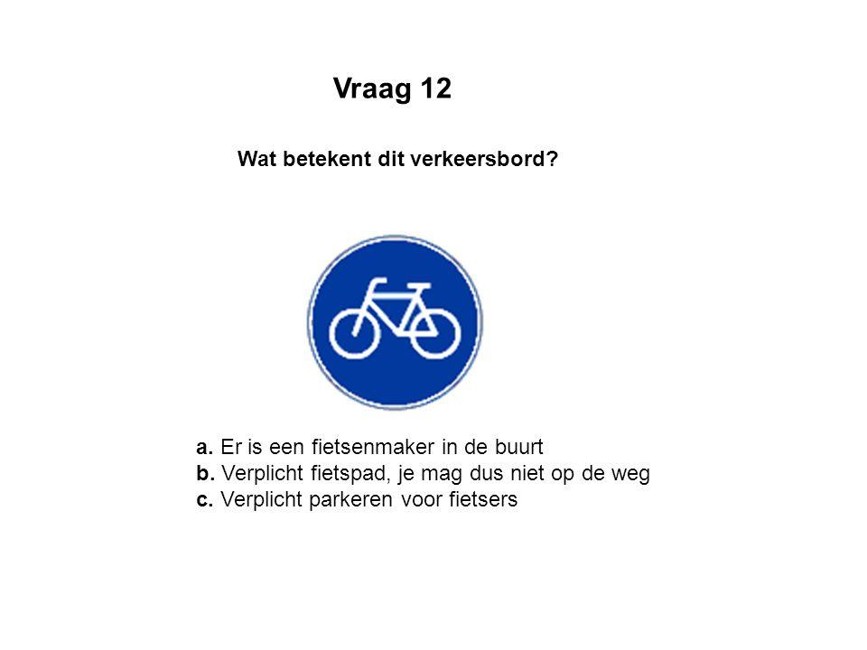 a. Er is een fietsenmaker in de buurt b. Verplicht fietspad, je mag dus niet op de weg c. Verplicht parkeren voor fietsers Wat betekent dit verkeersbo