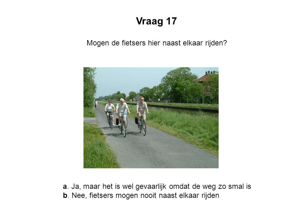 Vraag 17 Mogen de fietsers hier naast elkaar rijden? a. Ja, maar het is wel gevaarlijk omdat de weg zo smal is b. Nee, fietsers mogen nooit naast elka