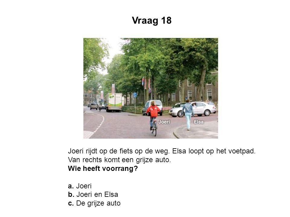 Joeri rijdt op de fiets op de weg. Elsa loopt op het voetpad. Van rechts komt een grijze auto. Wie heeft voorrang? a. Joeri b. Joeri en Elsa c. De gri