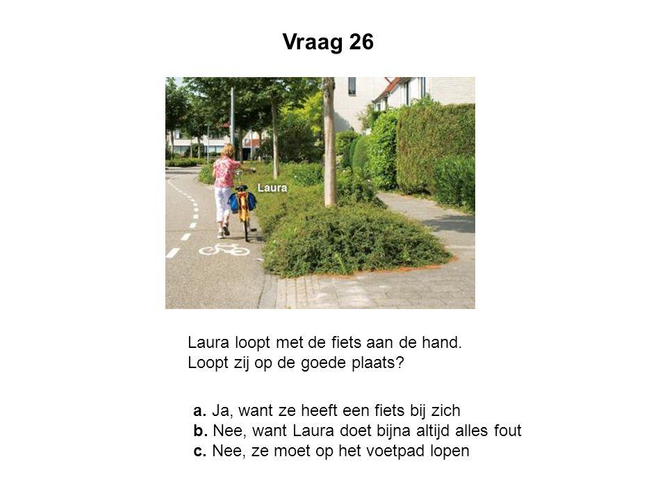Laura loopt met de fiets aan de hand. Loopt zij op de goede plaats? a. Ja, want ze heeft een fiets bij zich b. Nee, want Laura doet bijna altijd alles
