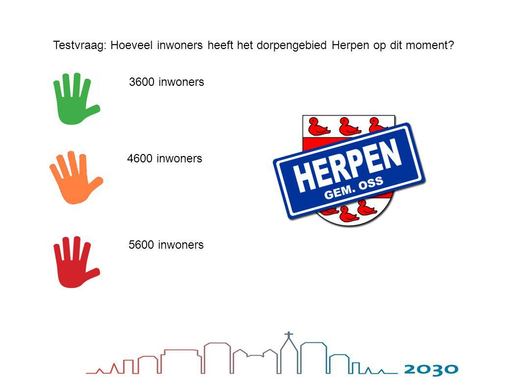 Testvraag: Hoeveel inwoners heeft het dorpengebied Herpen op dit moment? 3600 inwoners 4600 inwoners 5600 inwoners