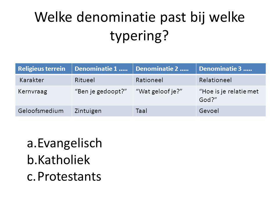 Welke denominatie past bij welke typering.