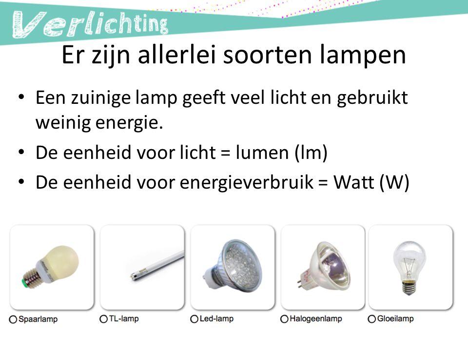 Er zijn allerlei soorten lampen Een zuinige lamp geeft veel licht en gebruikt weinig energie. De eenheid voor licht = lumen (lm) De eenheid voor energ