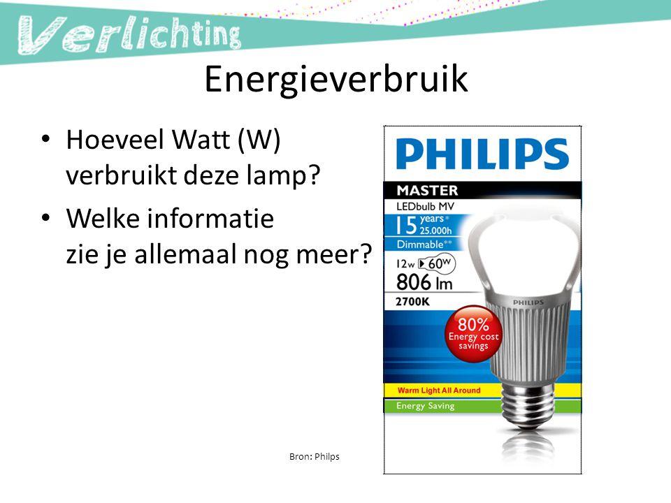Energieverbruik Hoeveel Watt (W) verbruikt deze lamp? Welke informatie zie je allemaal nog meer? Bron: Philps