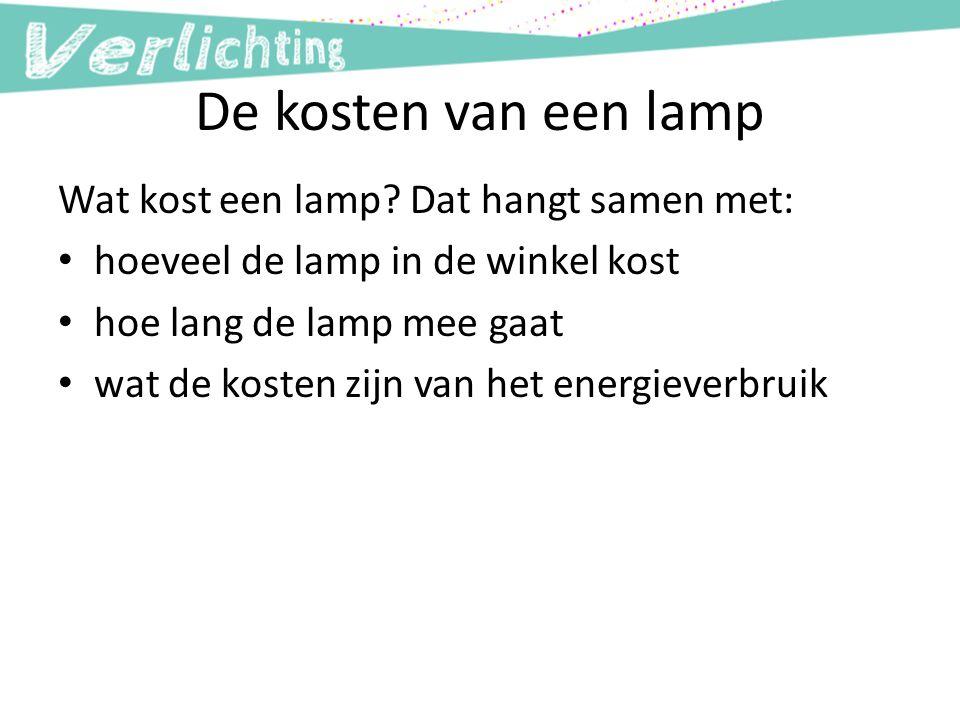 De kosten van een lamp Wat kost een lamp? Dat hangt samen met: hoeveel de lamp in de winkel kost hoe lang de lamp mee gaat wat de kosten zijn van het