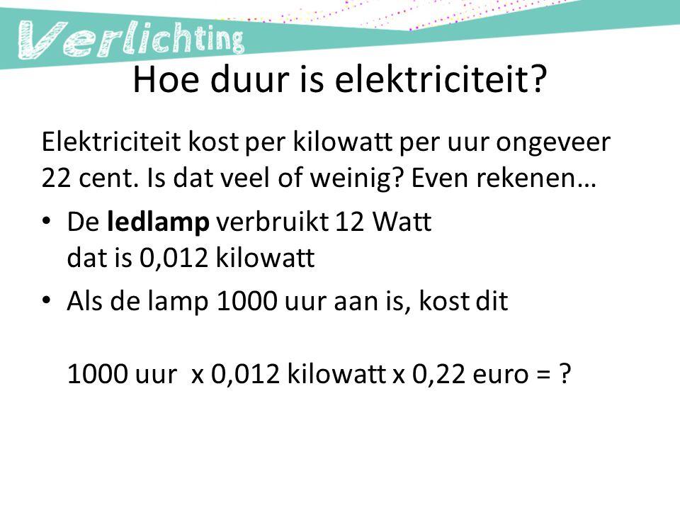 Hoe duur is elektriciteit? Elektriciteit kost per kilowatt per uur ongeveer 22 cent. Is dat veel of weinig? Even rekenen… De ledlamp verbruikt 12 Watt