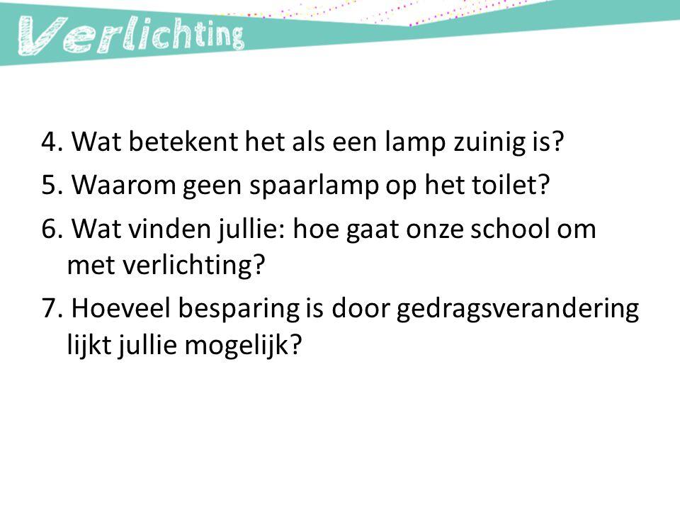 4. Wat betekent het als een lamp zuinig is? 5. Waarom geen spaarlamp op het toilet? 6. Wat vinden jullie: hoe gaat onze school om met verlichting? 7.