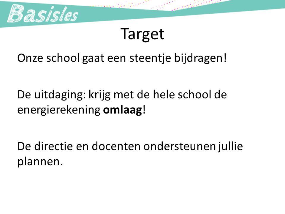 Target Onze school gaat een steentje bijdragen! De uitdaging: krijg met de hele school de energierekening omlaag! De directie en docenten ondersteunen