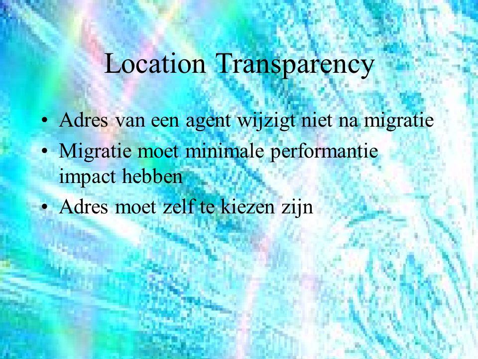 Location Transparency Adres van een agent wijzigt niet na migratie Migratie moet minimale performantie impact hebben Adres moet zelf te kiezen zijn