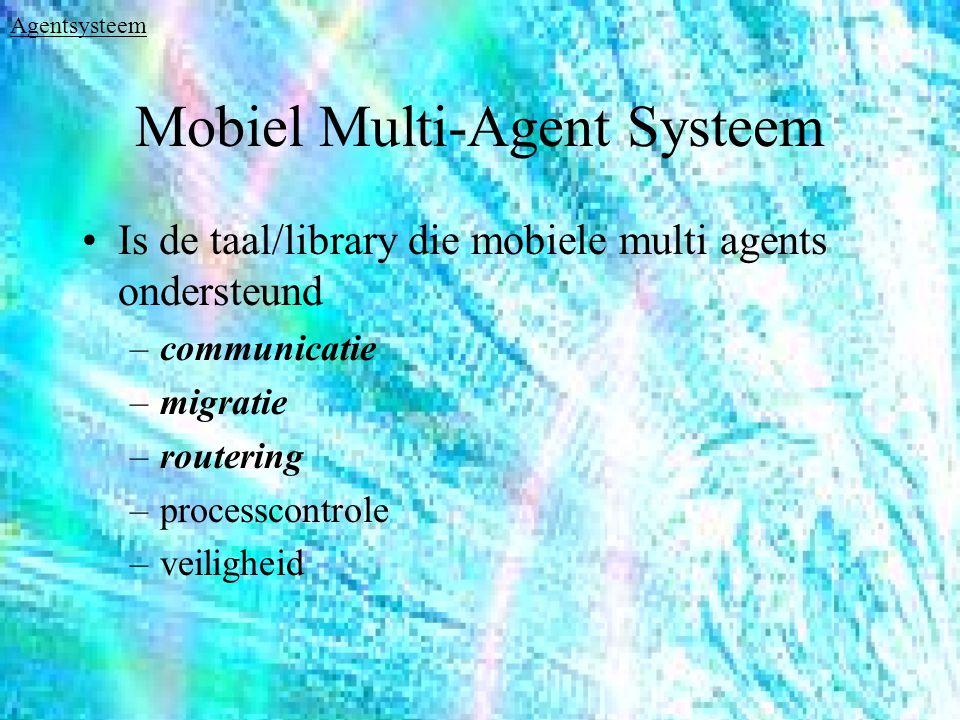 Mobiel Multi-Agent Systeem Is de taal/library die mobiele multi agents ondersteund –communicatie –migratie –routering –processcontrole –veiligheid Agentsysteem