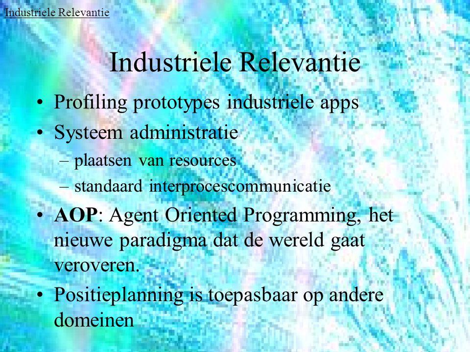 Industriele Relevantie Profiling prototypes industriele apps Systeem administratie –plaatsen van resources –standaard interprocescommunicatie AOP: Agent Oriented Programming, het nieuwe paradigma dat de wereld gaat veroveren.