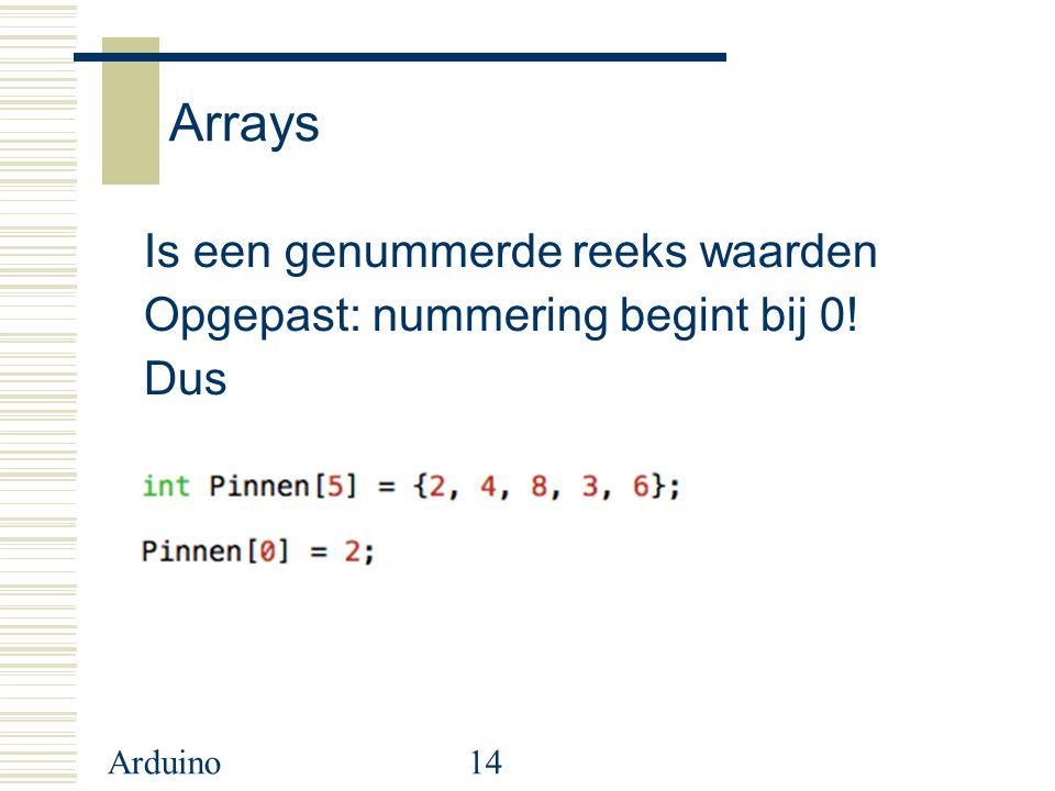 Arduino14 Arrays Is een genummerde reeks waarden Opgepast: nummering begint bij 0! Dus