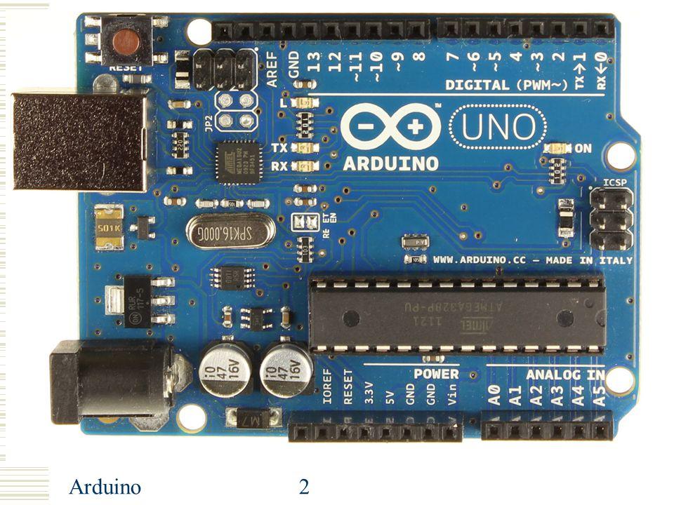 Arduino23 Arduino: analogRead() analogRead() leest de analoge waarde op een pin, 0V=0 → 5V=1023 – Dus 5/1023 = 4,9mV per eenheid Syntax: – analogRead(pin) Geeft terug: integer tussen 0 en 1023 Voorbeeld: – Herschalen naar 0 tot 9: integer deling door 110