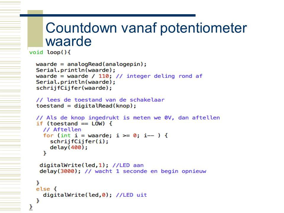 Arduino24 Countdown vanaf potentiometer waarde