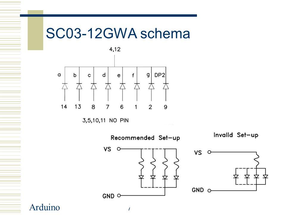 Arduino8 Berekening 5 Volt → 10mA → LED: 2V: R=(U-Uled)/I → 3V/10mA 300Ω Stel 392 Ω 10mA 2V