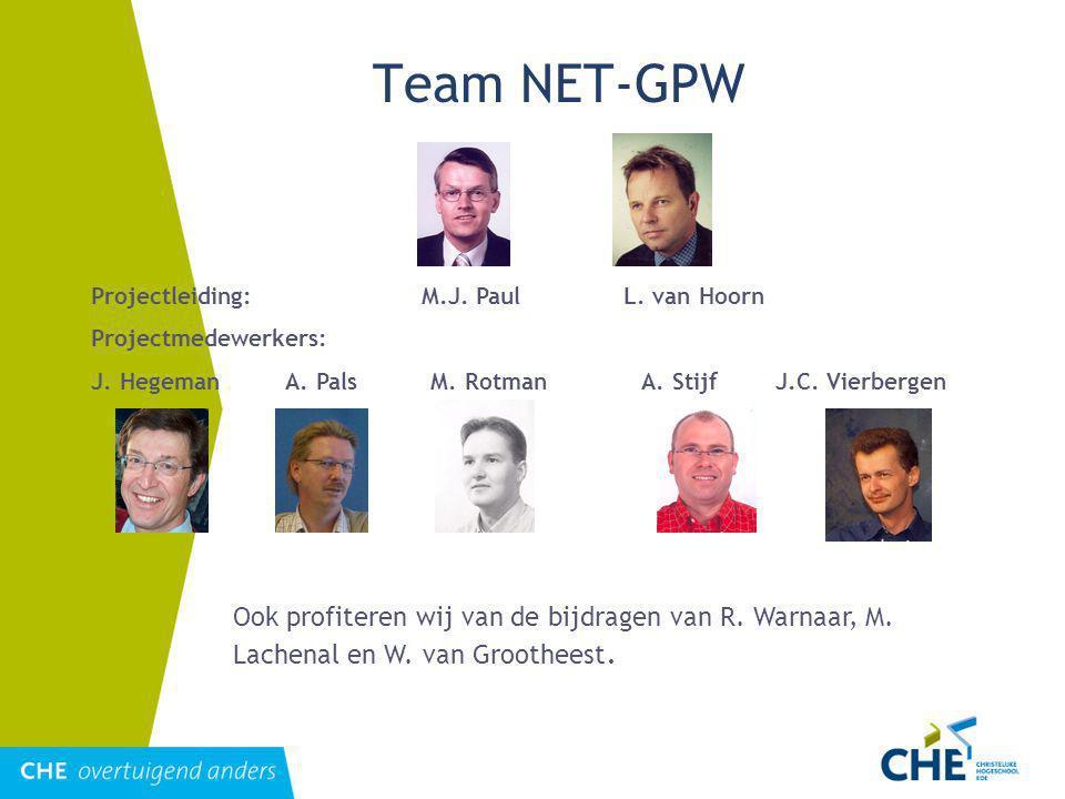 Team NET-GPW Projectleiding: M.J.PaulL. van Hoorn Projectmedewerkers: J.