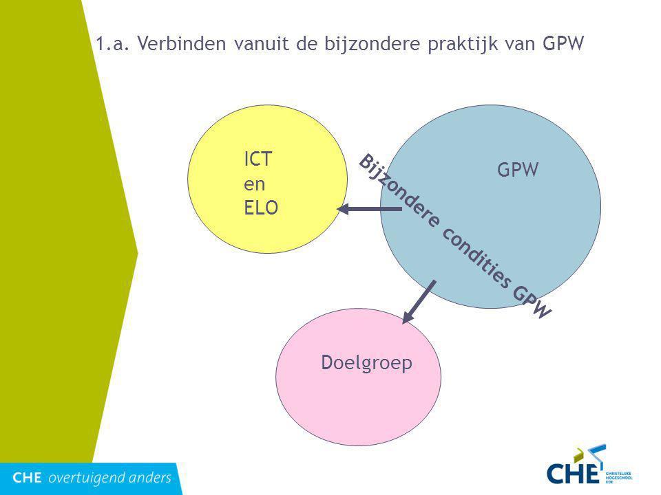 ICT en ELO GPW Doelgroep Bijzondere condities GPW 1.a.