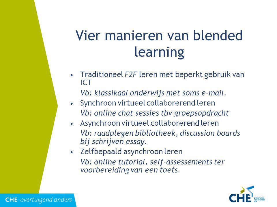 Vier manieren van blended learning Traditioneel F2F leren met beperkt gebruik van ICT Vb: klassikaal onderwijs met soms e-mail.