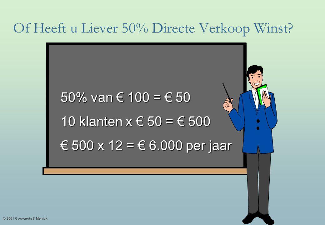 © 2001 Goovaerts & Menick 50% van € 100 = € 50 10 klanten x € 50 = € 500 € 500 x 12 = € 6.000 per jaar Of Heeft u Liever 50% Directe Verkoop Winst?