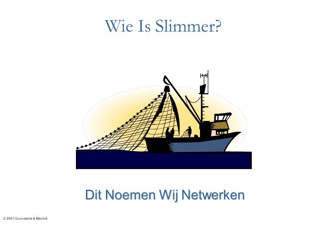 © 2001 Goovaerts & Menick Wie Is Slimmer? Dit Noemen Wij Netwerken