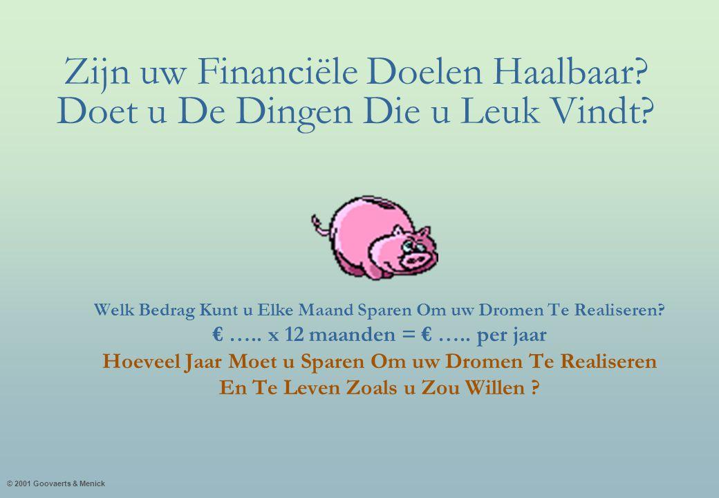 © 2001 Goovaerts & Menick Zijn uw Financiële Doelen Haalbaar? Doet u De Dingen Die u Leuk Vindt? Welk Bedrag Kunt u Elke Maand Sparen Om uw Dromen Te