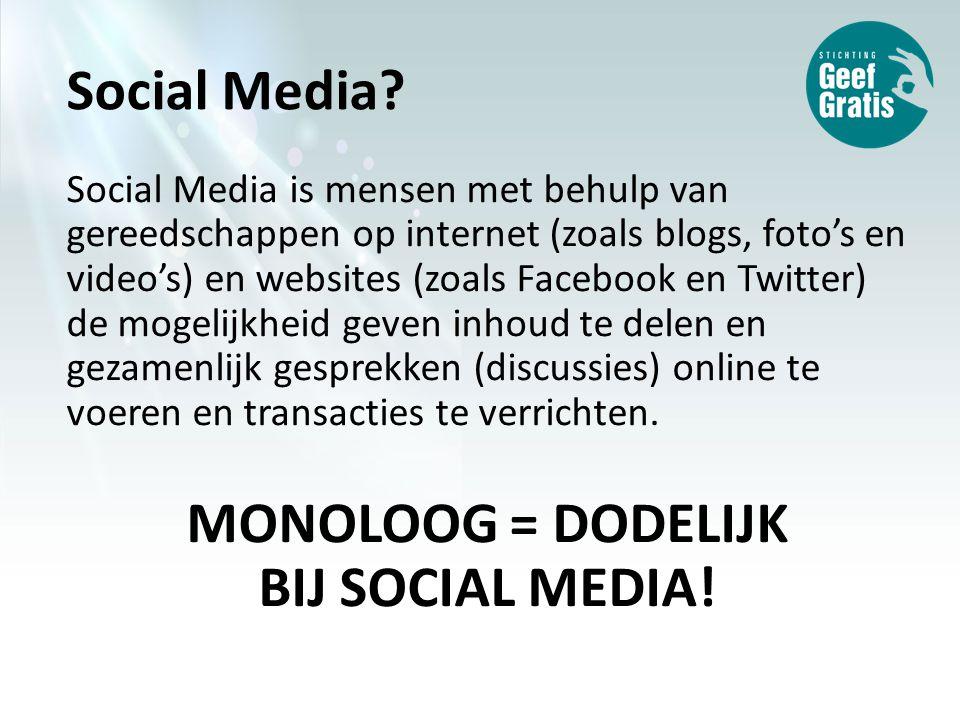 Social Media is mensen met behulp van gereedschappen op internet (zoals blogs, foto's en video's) en websites (zoals Facebook en Twitter) de mogelijkheid geven inhoud te delen en gezamenlijk gesprekken (discussies) online te voeren en transacties te verrichten.