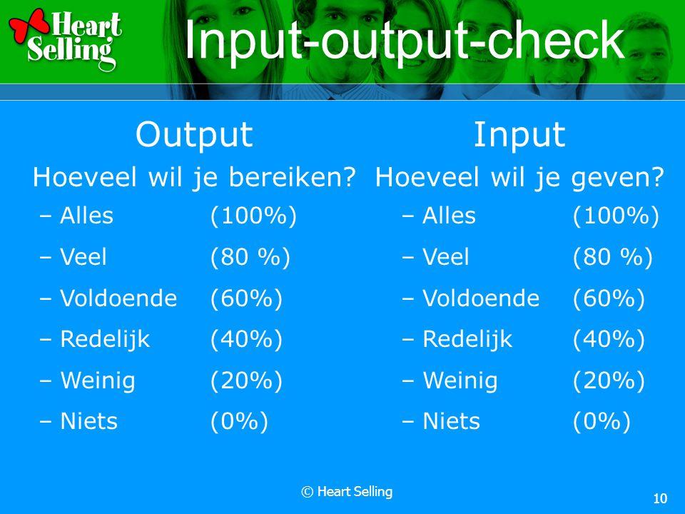 © Heart Selling 10 Input-output-check Output Hoeveel wil je bereiken? –Alles(100%) –Veel(80 %) –Voldoende(60%) –Redelijk(40%) –Weinig(20%) –Niets (0%)