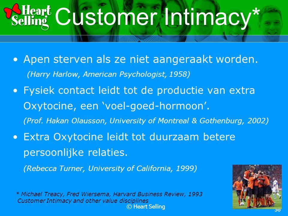 © Heart Selling 36 Customer Intimacy* Apen sterven als ze niet aangeraakt worden. (Harry Harlow, American Psychologist, 1958) Fysiek contact leidt tot