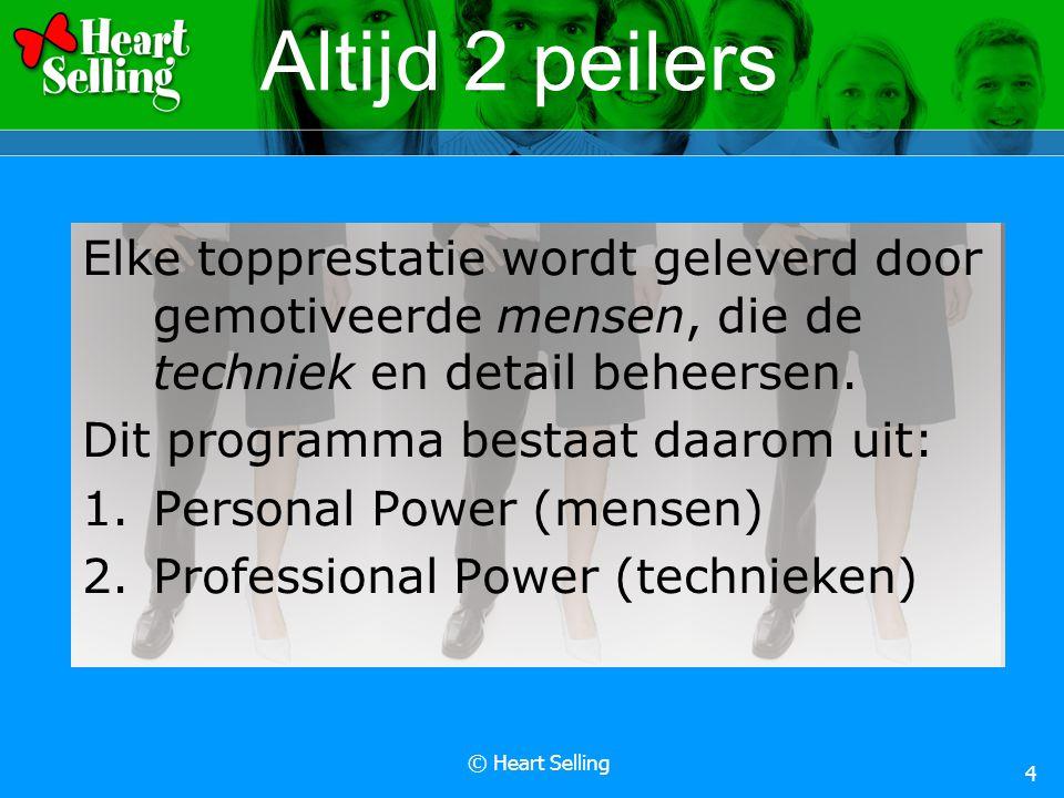 © Heart Selling 4 Altijd 2 peilers Elke topprestatie wordt geleverd door gemotiveerde mensen, die de techniek en detail beheersen.