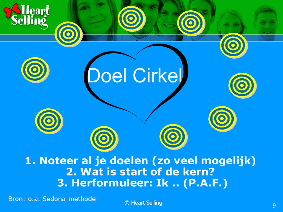 © Heart Selling 9 Doel Cirkel 1. Noteer al je doelen (zo veel mogelijk) Bron: o.a. Sedona methode 3. Herformuleer: Ik.. (P.A.F.) 2. Wat is start of de