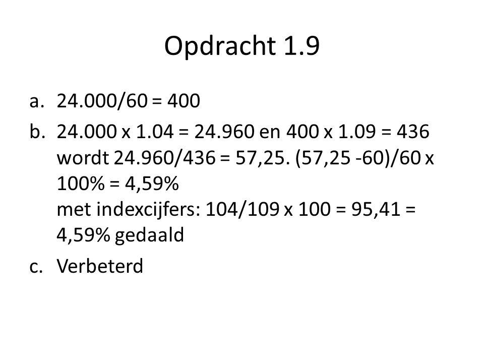 Opdracht 1.9 a.24.000/60 = 400 b.24.000 x 1.04 = 24.960 en 400 x 1.09 = 436 wordt 24.960/436 = 57,25.
