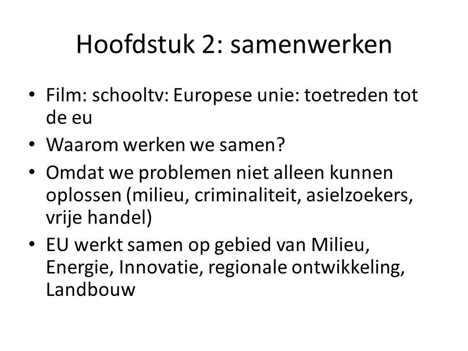 Hoofdstuk 2: samenwerken Film: schooltv: Europese unie: toetreden tot de eu Waarom werken we samen.