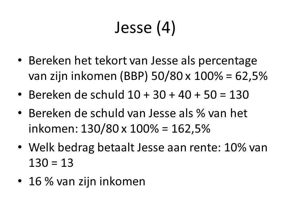 Jesse (4) Bereken het tekort van Jesse als percentage van zijn inkomen (BBP) 50/80 x 100% = 62,5% Bereken de schuld 10 + 30 + 40 + 50 = 130 Bereken de schuld van Jesse als % van het inkomen: 130/80 x 100% = 162,5% Welk bedrag betaalt Jesse aan rente: 10% van 130 = 13 16 % van zijn inkomen