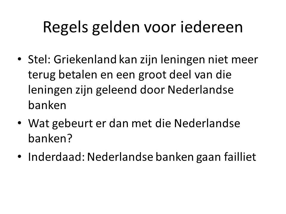 Regels gelden voor iedereen Stel: Griekenland kan zijn leningen niet meer terug betalen en een groot deel van die leningen zijn geleend door Nederlandse banken Wat gebeurt er dan met die Nederlandse banken.