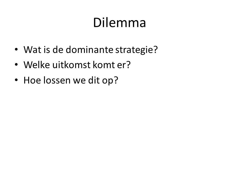 Dilemma Wat is de dominante strategie Welke uitkomst komt er Hoe lossen we dit op