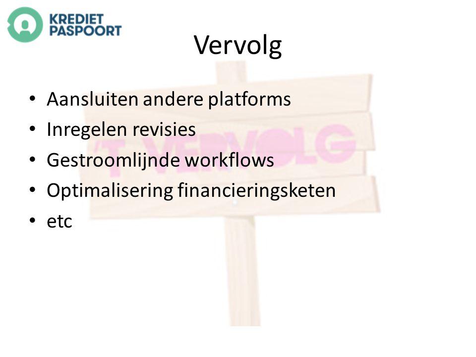 Vervolg Aansluiten andere platforms Inregelen revisies Gestroomlijnde workflows Optimalisering financieringsketen etc