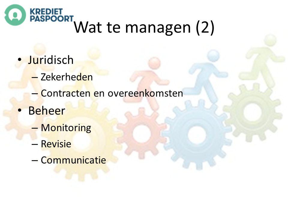Wat te managen (2) Juridisch – Zekerheden – Contracten en overeenkomsten Beheer – Monitoring – Revisie – Communicatie