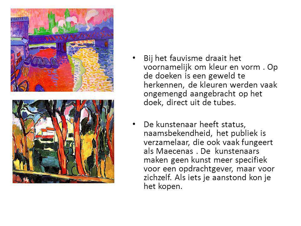 Bij het fauvisme draait het voornamelijk om kleur en vorm. Op de doeken is een geweld te herkennen, de kleuren werden vaak ongemengd aangebracht op he