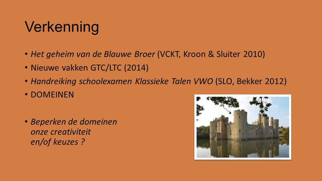 Verkenning Het geheim van de Blauwe Broer (VCKT, Kroon & Sluiter 2010) Nieuwe vakken GTC/LTC (2014) Handreiking schoolexamen Klassieke Talen VWO (SLO, Bekker 2012) DOMEINEN Beperken de domeinen onze creativiteit en/of keuzes ?