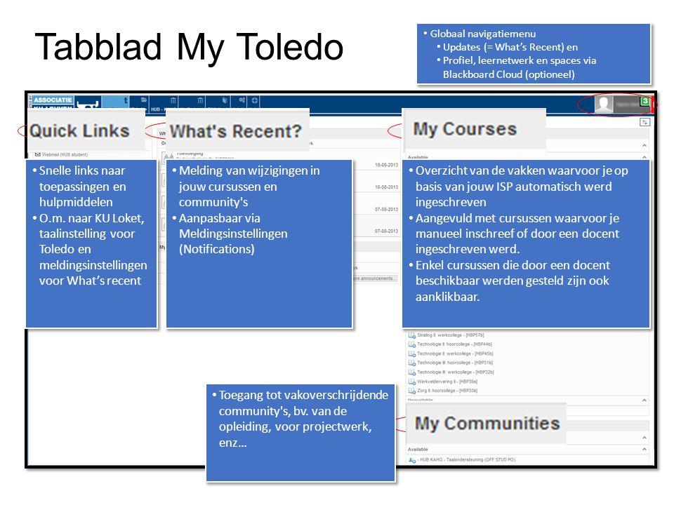 Tabblad My Toledo Snelle links naar toepassingen en hulpmiddelen O.m. naar KU Loket, taalinstelling voor Toledo en meldingsinstellingen voor What's re
