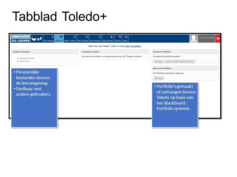 Tabblad Toledo+ Persoonlijke bestanden binnen de leeromgeving. Deelbaar met andere gebruikers. Persoonlijke bestanden binnen de leeromgeving. Deelbaar