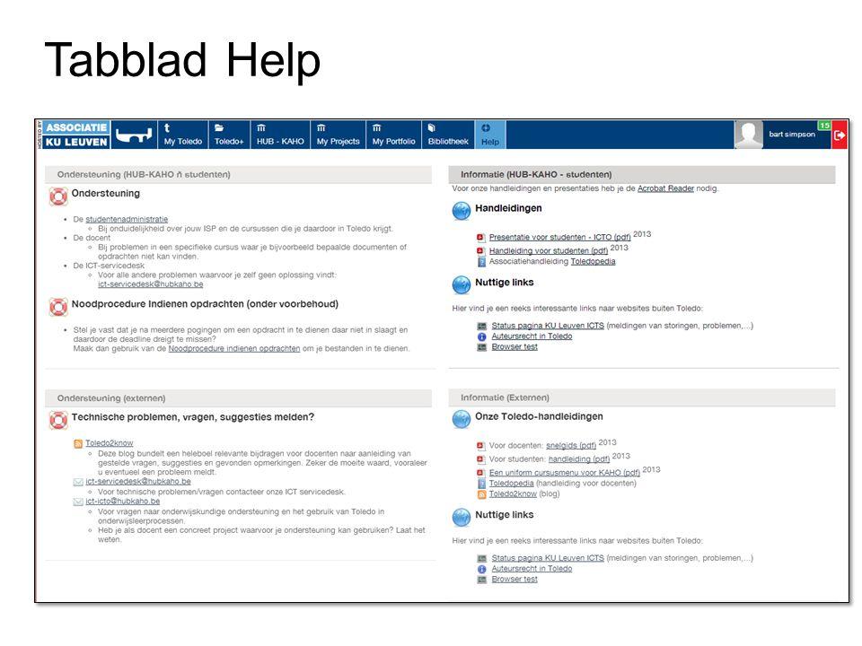 Tabblad Help
