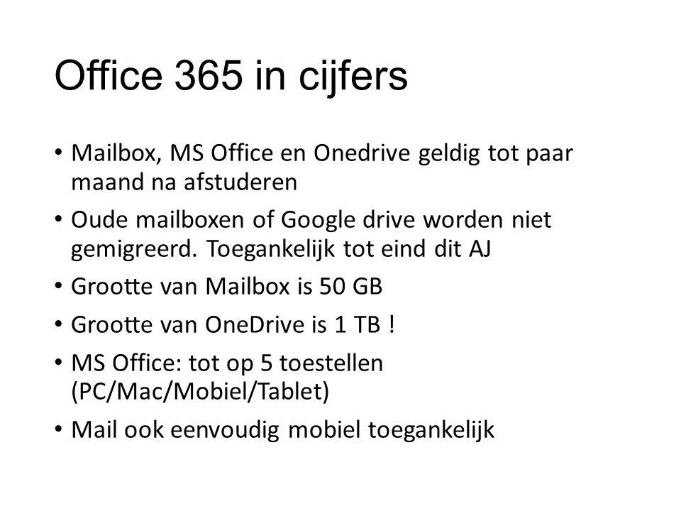 Office 365 in cijfers Mailbox, MS Office en Onedrive geldig tot paar maand na afstuderen Oude mailboxen of Google drive worden niet gemigreerd. Toegan