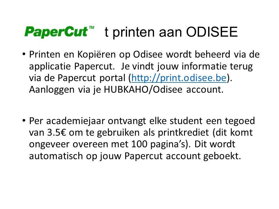Papercu t printen aan ODISEE Printen en Kopiëren op Odisee wordt beheerd via de applicatie Papercut. Je vindt jouw informatie terug via de Papercut po