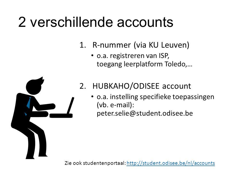 2 verschillende accounts 1.R-nummer (via KU Leuven) o.a. registreren van ISP, toegang leerplatform Toledo,… 2.HUBKAHO/ODISEE account o.a. instelling s